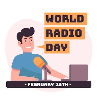 Hand drawn world radio day
