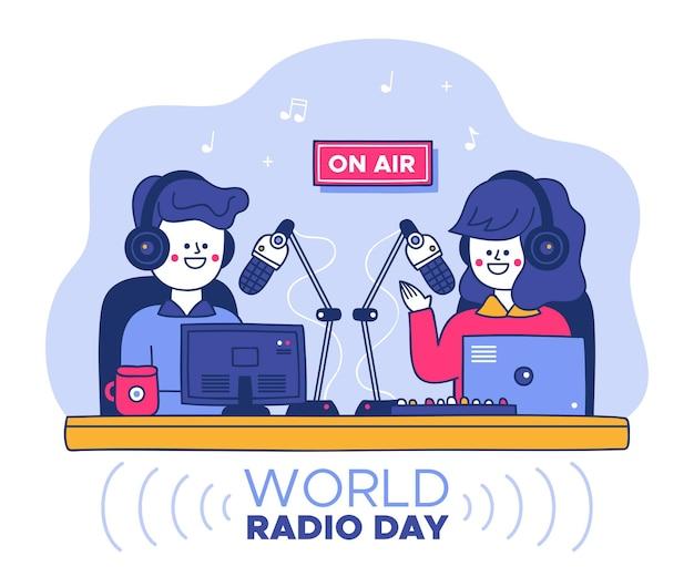 손으로 그린 세계 라디오의 날
