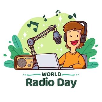 Giornata mondiale della radio disegnata a mano