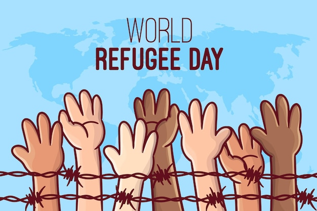 Hand drawn world refugee day concept