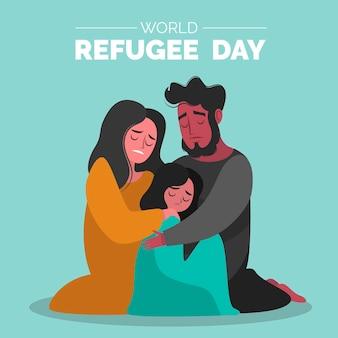 Illustrazione disegnata a mano di giorno del rifugiato del mondo