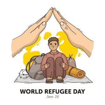 手描きの世界難民の日イラスト