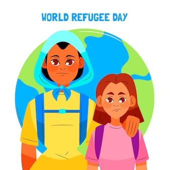 Illustrazione disegnata a mano della giornata mondiale del rifugiato