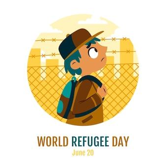 손으로 그린 세계 난민의 날 그림