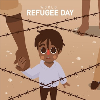 Hand drawn world refugee day with boy