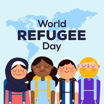 Hand drawn world refugee day