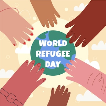 手描きの世界難民の日