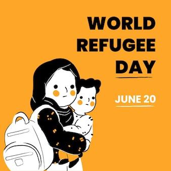 Post di instagram dei rifugiati del mondo disegnato a mano