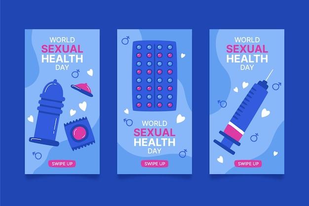 Raccolta di storie di instagram della giornata mondiale della salute sessuale disegnata a mano