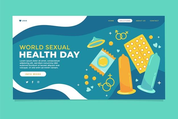 Modello di pagina di destinazione della giornata mondiale della salute sessuale disegnata a mano