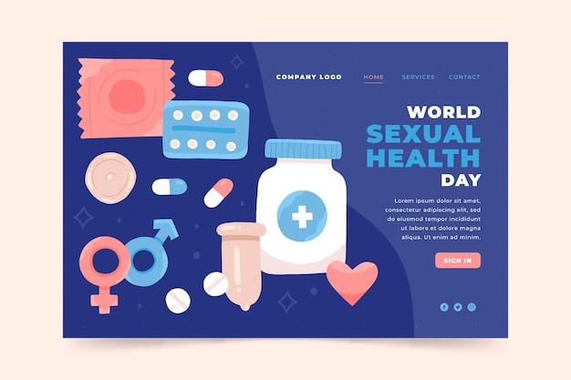 手描きの世界の性の健康の日のランディングページテンプレート