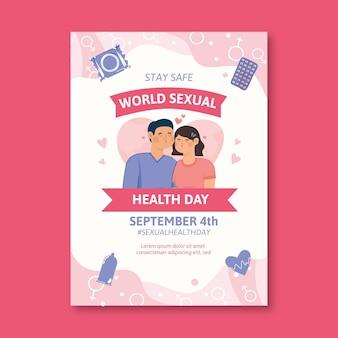 손으로 그린 세계 성 건강의 날 수직 전단지 템플릿