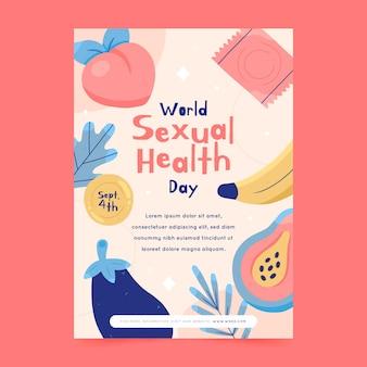手描きの世界の性の健康の日の垂直チラシテンプレート