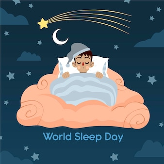 Hand-drawn world sleep day illustration with sleeping man in bed