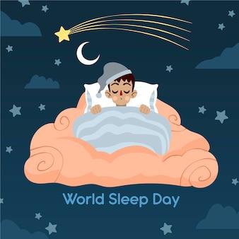 침대에서 잠자는 남자와 손으로 그린 세계 수면의 날 그림