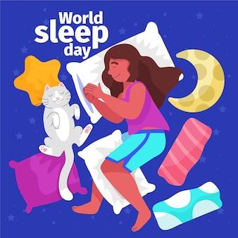 잠자는 여자와 고양이와 손으로 그린 세계 수면의 날 그림