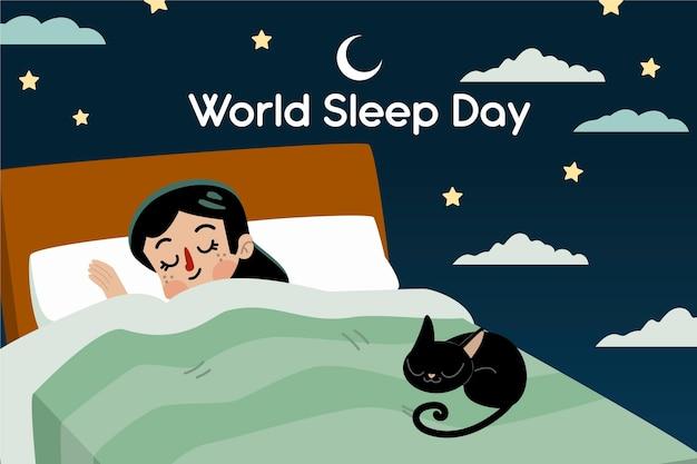 잠자는 여자와 고양이와 손으로 그린 세계 수면의 날 그림 무료 벡터