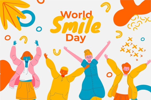 Ручной обращается всемирный день улыбки фон