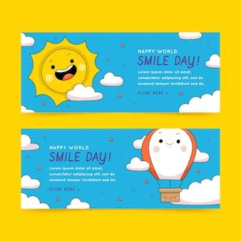 Hand drawn world smile day horizontal banners set