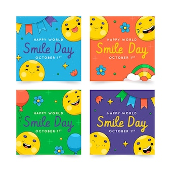 Hand drawn world smile day instagram posts collection
