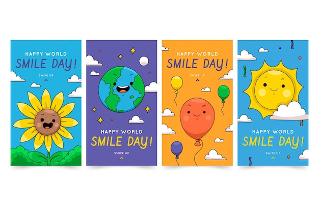 Hand drawn world smile day instagram stories collection
