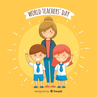Hand-drawn world teachers day background