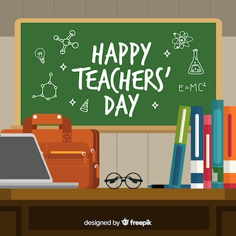 Hand drawn world teachers'day chalkboard