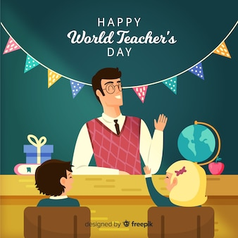 Hand drawn world teachers day with garland