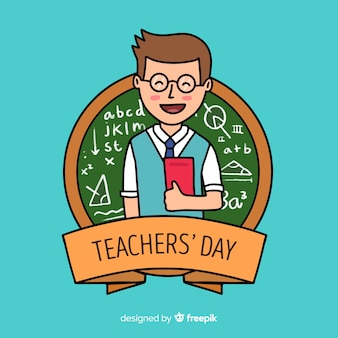 Hand drawn world teachers' day with man holding books