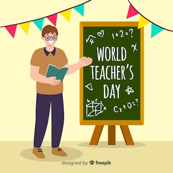 Hand drawn world teachers' day with man