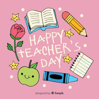 Hand drawn world teachers' day with school supplies