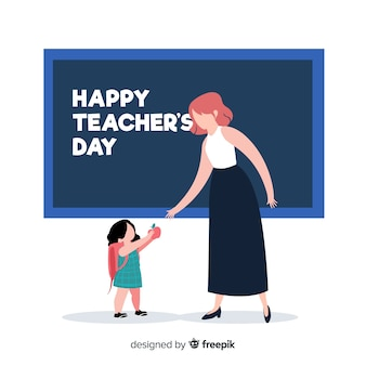 Hand drawn world teachers' day with teacher and pupil