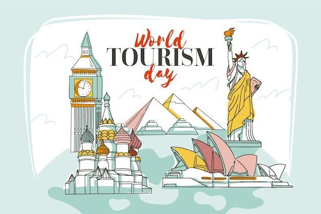 Нарисованная рукой концепция всемирного дня туризма
