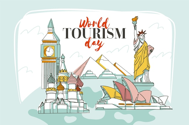 Hand drawn world tourism day concept