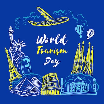 Hand-drawnworld tourism day design
