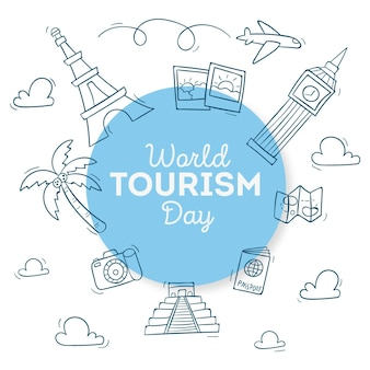 Hand-drawn world tourism day illustration theme