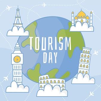 Нарисованная от руки тема иллюстрации всемирного дня туризма
