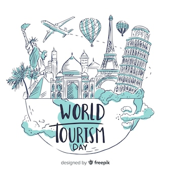 Hand drawn world tourism day with famous landmarks