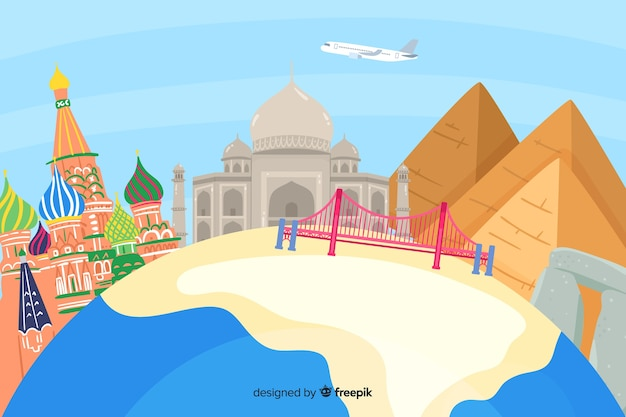 Hand drawn world tourism day with landmarks