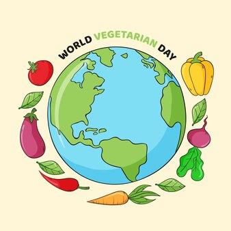 Нарисованная рукой иллюстрация всемирного вегетарианского дня