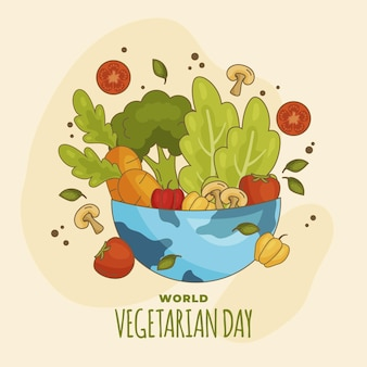 Hand drawn world vegetarian day illustration