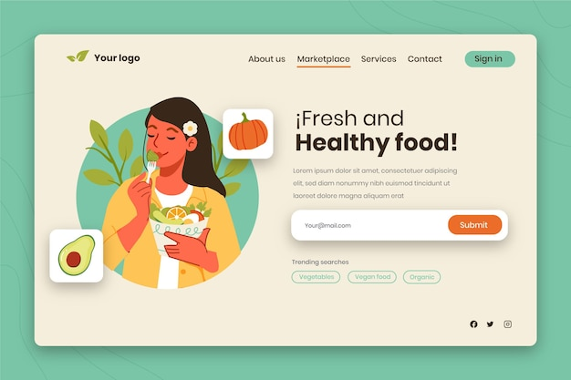 Hand drawn world vegetarian day landing page template with woman eating salad