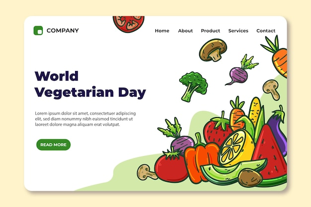 Hand drawn world vegetarian day landing page template