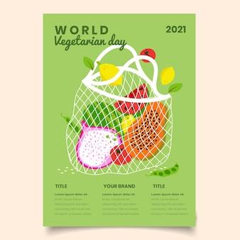 손으로 그린 세계 채식의 날 세로 포스터 템플릿