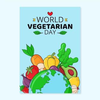 Нарисованный рукой шаблон вертикального плаката всемирного вегетарианского дня