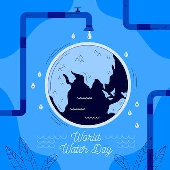 手描きの世界水の日と地球