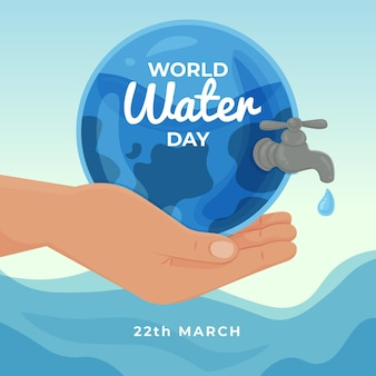 Hand-drawn world water day illustration with hand holding planet with tap