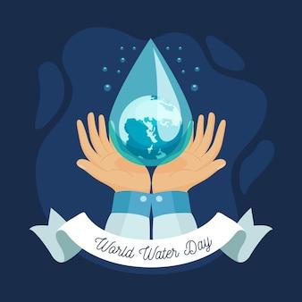 手と水滴と手描きの世界水の日のイラスト