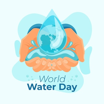 Hand-drawn world water day illustration with hands and water drop