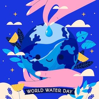 Illustrazione disegnata a mano della giornata mondiale dell'acqua con le mani che innaffiano il pianeta